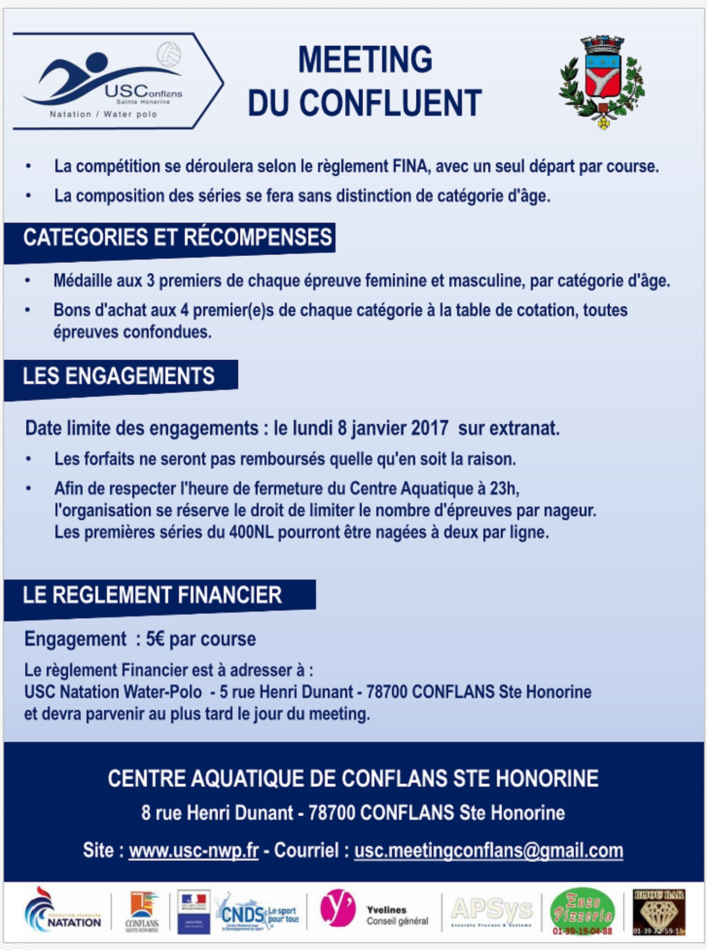 Prochainement conflans usc natation waterpolo for Horaires piscine conflans
