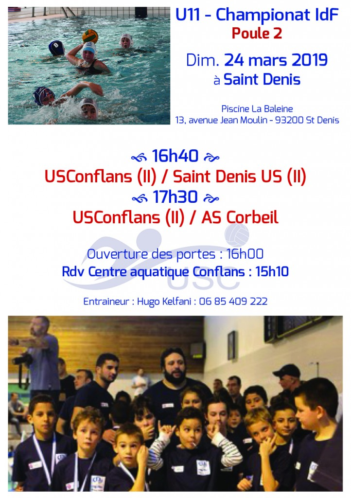 Convocations U11 - Phase 2-Poule 2 - 24 mars 2019 - Saint Denis