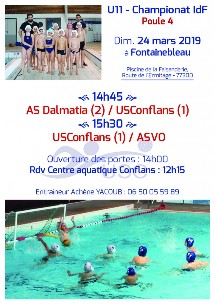 Convocations U11 - Phase 2-Poule 4 - 24 mars 2019 - Fontainebleau