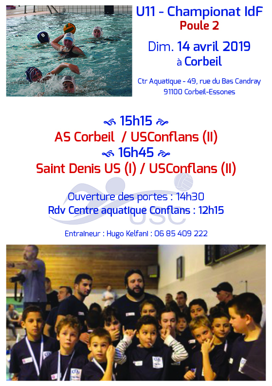 Convocations U11 - Phase 2-Poule 2 - 14 avril 2019 - Corbeil