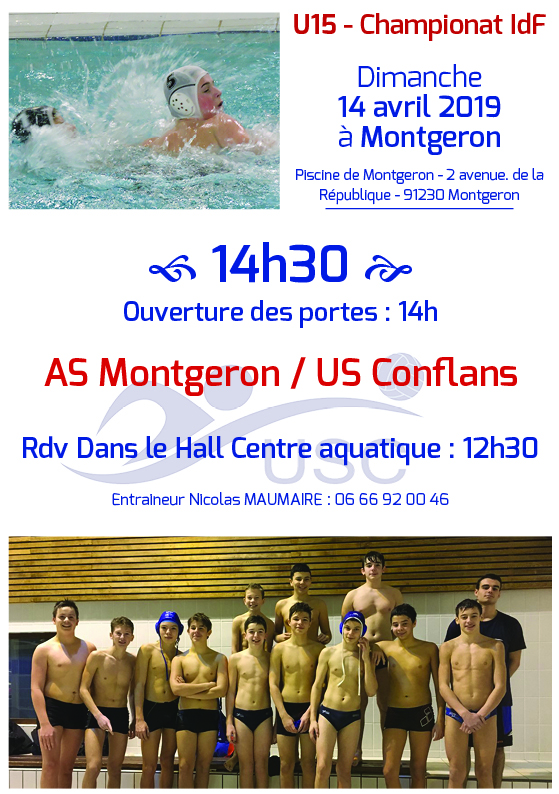 Convocations U15 - 4 avril 2019 - Montgeron-USC
